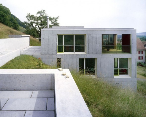 Contemporary Concrete House Design in Rural Landscape of Switzerland - Rooftop