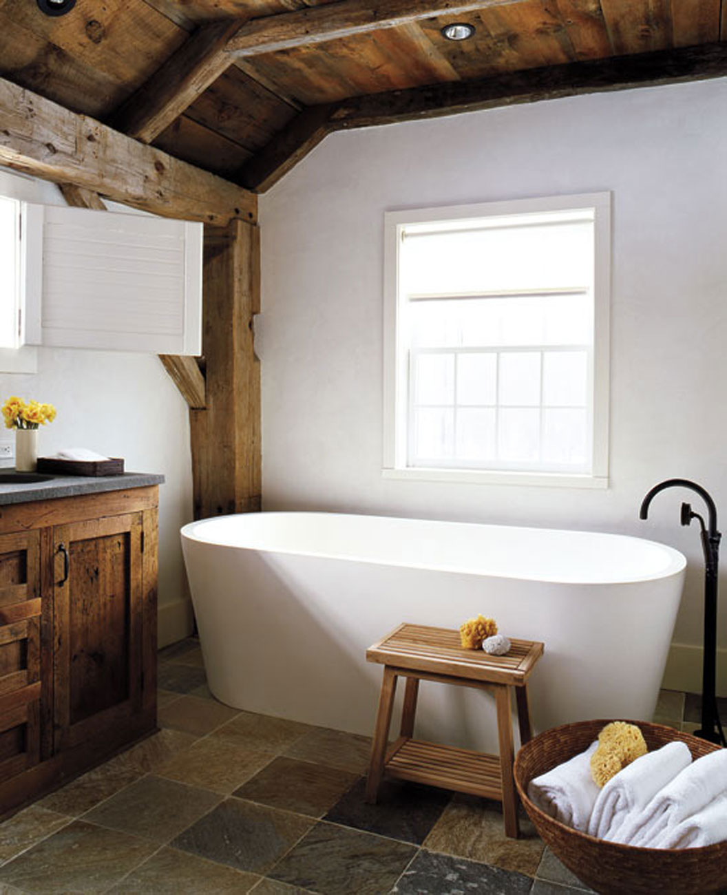 Contemporary House Design from a Barn with High Quality Wood Furniture - Bathroom
