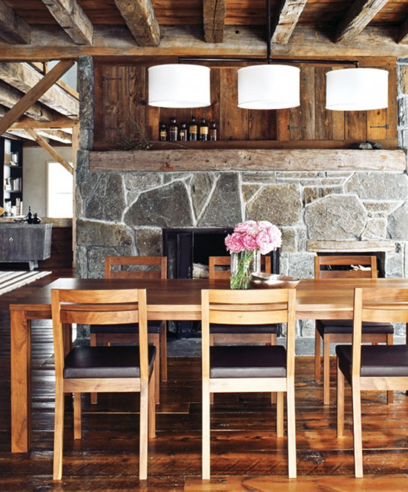 Contemporary House Design from a Barn with High Quality Wood Furniture - Dining table