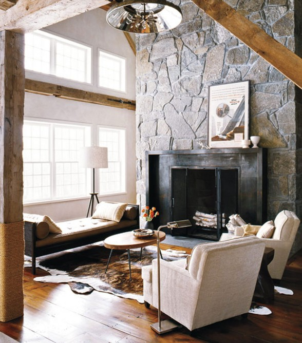 Contemporary House Design from a Barn with High Quality Wood Furniture - Fireplace