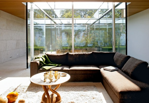 Glass Bungalow Design with Some Wooden Materials - Modern Couch
