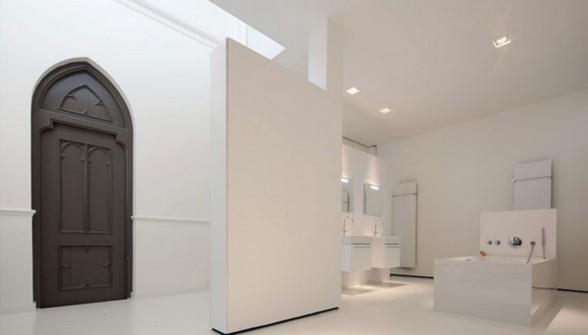 Gothic Church Turned into White Contemporary Home in 2009 - Bathroom
