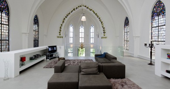 Gothic Church Turned into White Contemporary Home in 2009 - Livingroom