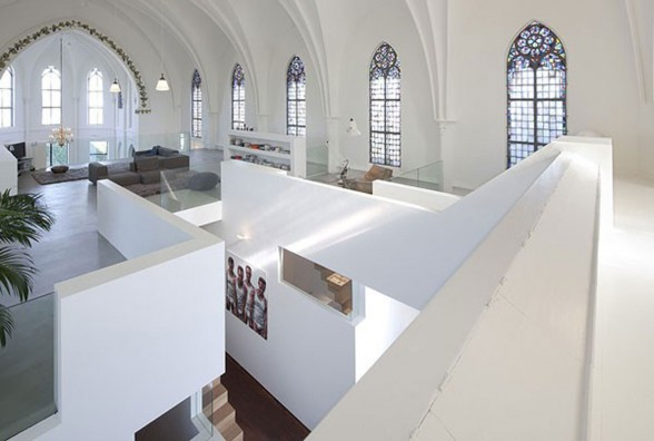 Gothic Church Turned into White Contemporary Home in 2009 - Second Floor
