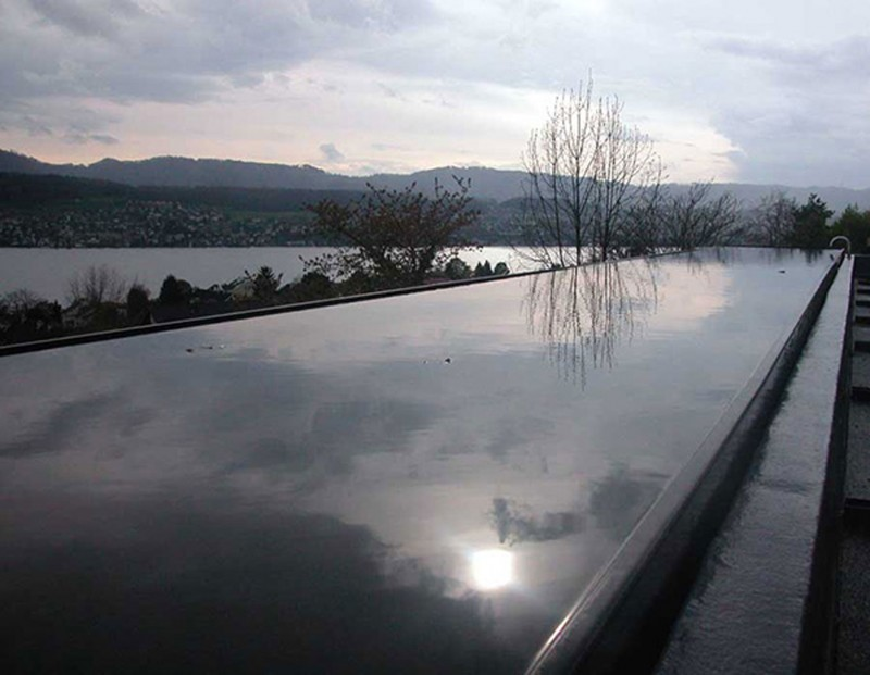 Han Bit House, Slope Concrete House Design In Switzerland By Burkhalter Sumi Architekten   Pool