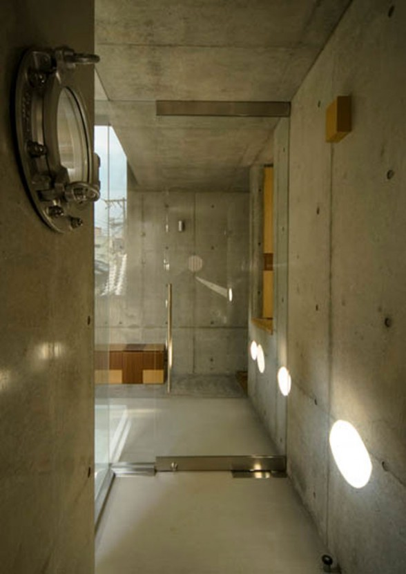 Holey Concrete Home Design with Contemporary Style in Japan - Bathroom