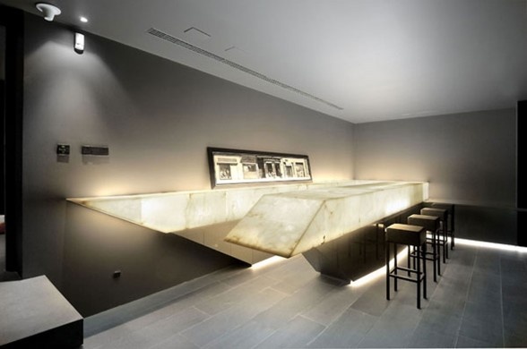 Huge Concrete House Design with Black Interior and Exterior - Bar