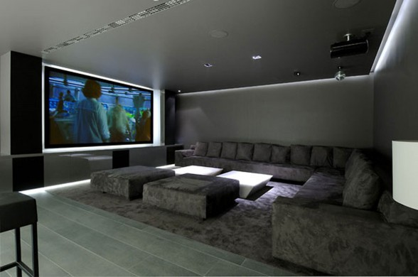 Huge Concrete House Design with Black Interior and Exterior - Cinema