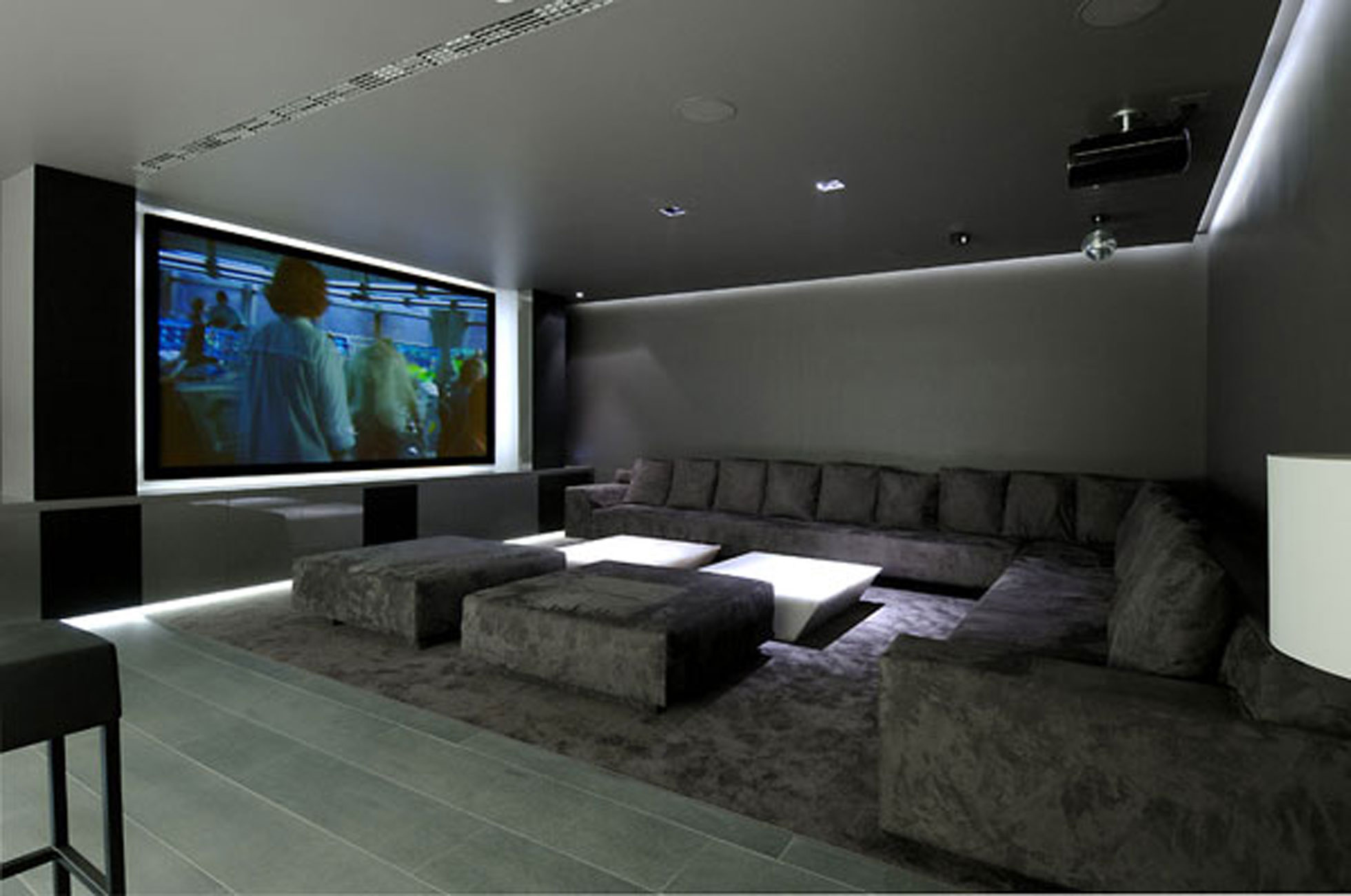 Huge Concrete House Design with Black Interior and Exterior Cinema