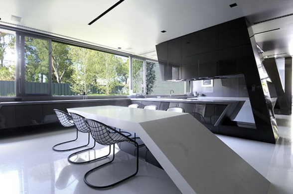 Huge Concrete House Design with Black Interior and Exterior - Dining Table