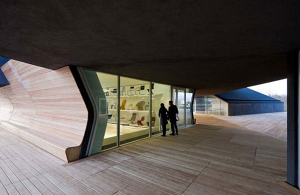 Interesting Architecture of Vitra Haus with Panoramic Views - Glass Entrance Door