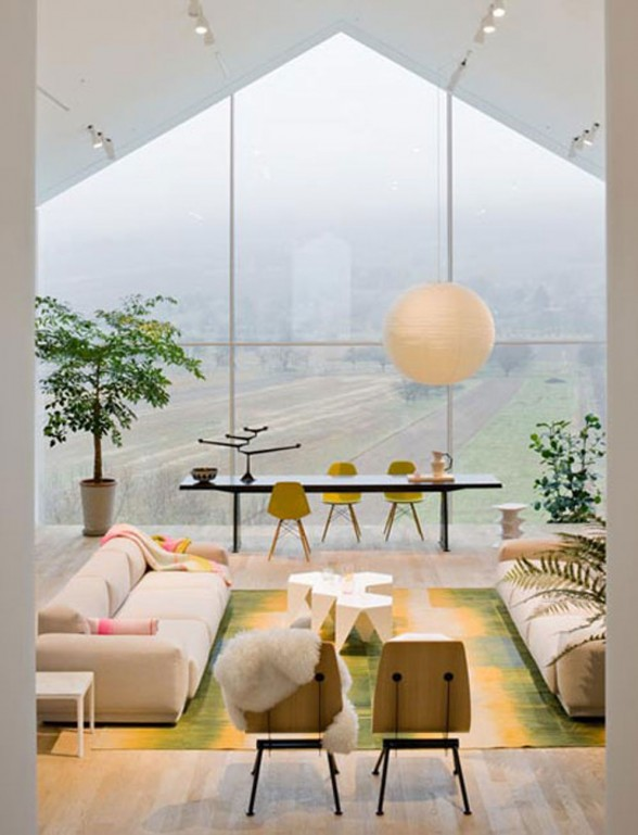 Interesting Architecture of Vitra Haus with Panoramic Views - Living Room