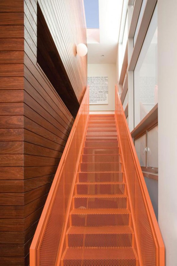 LeanArch Architect Design, Sustainable Home in Manhattan Beach - Red Staircase