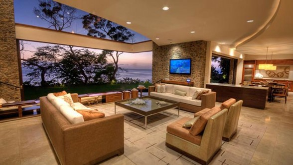 Luxurious Villa Design in Hawaii with Great Landscapes - Livingroom