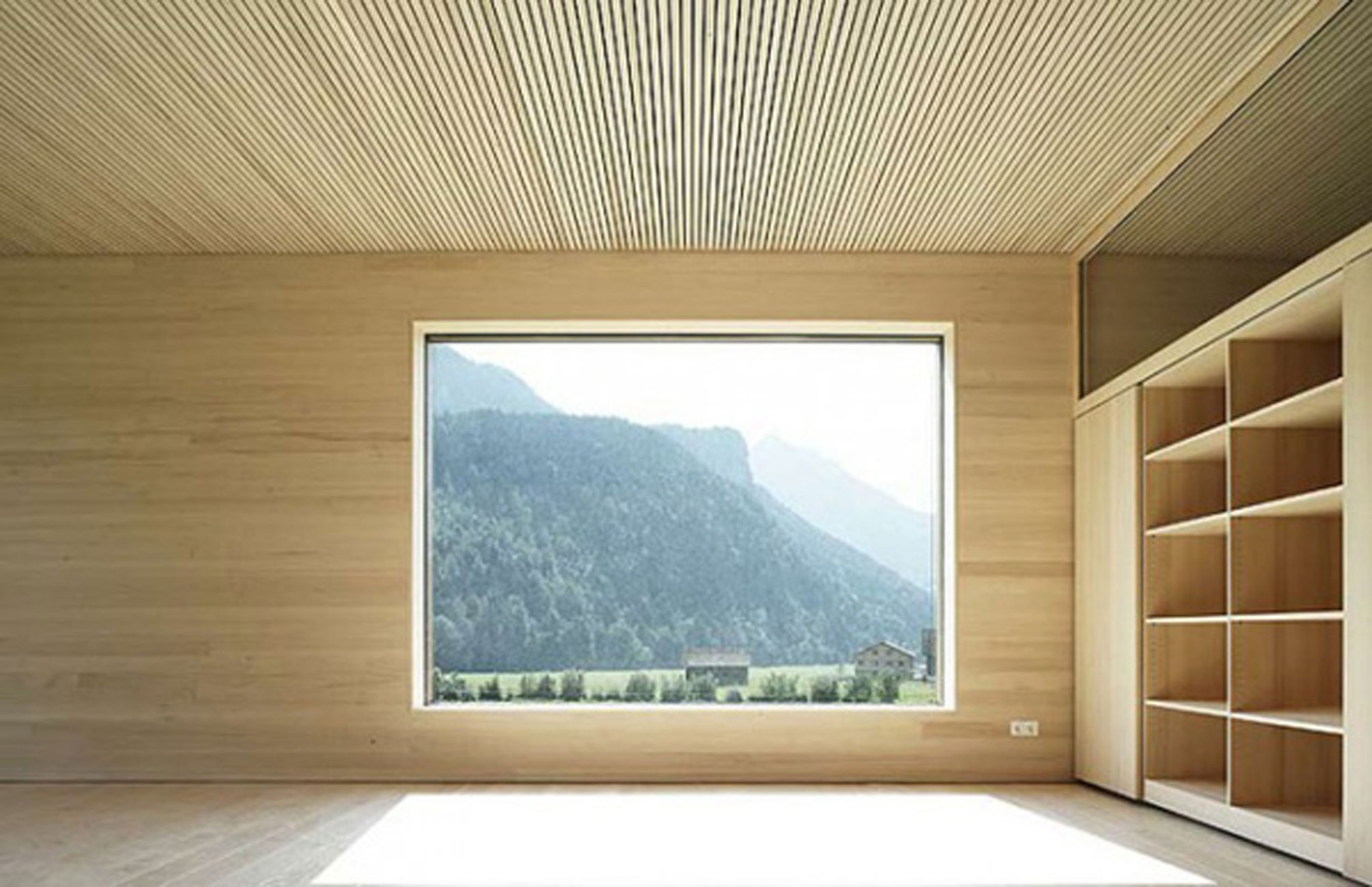 Minimalist Wooden House Ideas by Bernardo Bader - a Room