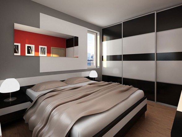 Modern Apartment Design with Red Interior Ideas from Studio Neopolis Slovakia - Cozy Bed