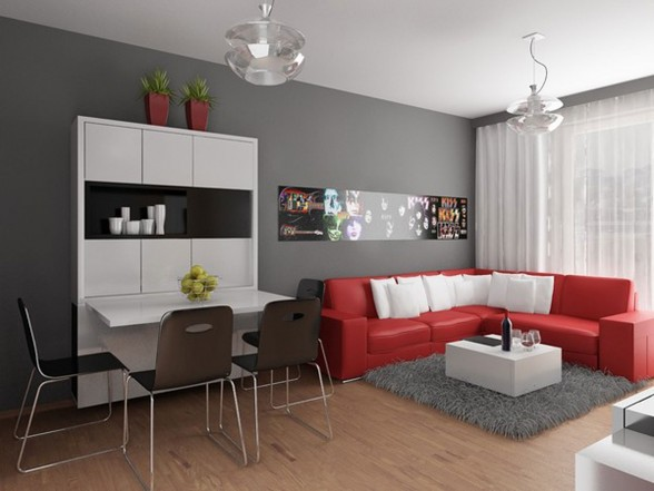 Modern Apartment Design with Red Interior Ideas from Studio Neopolis Slovakia - Mini Bar