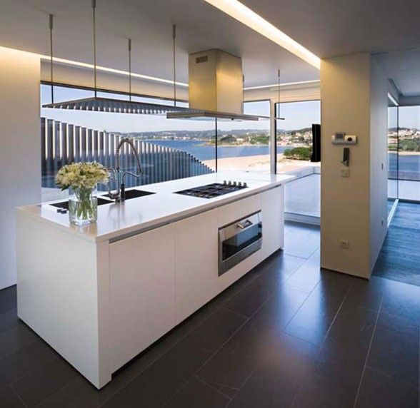 Modern Glass House Design in Cliff Side of Galicia Spain - Kitchen