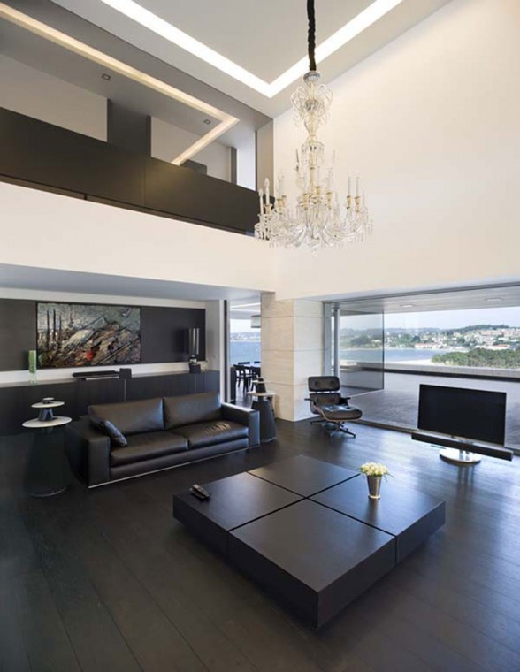 Modern Glass House Design in Cliff Side of Galicia Spain - Living Room