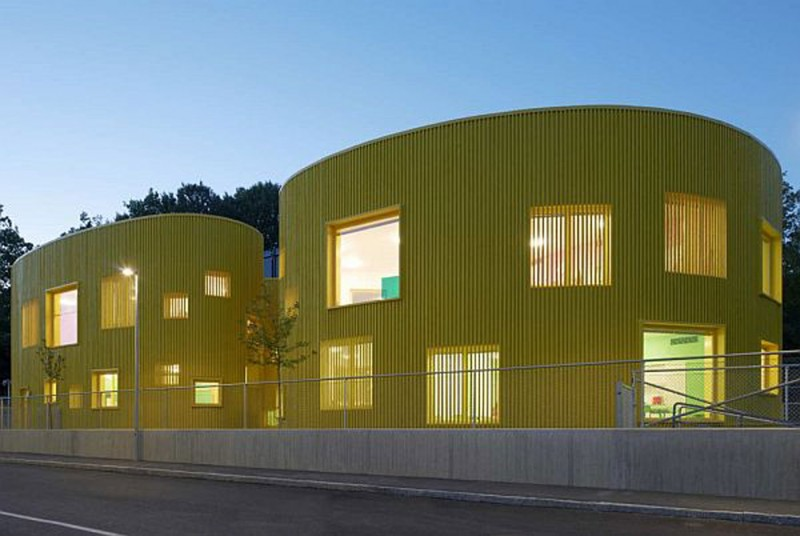 Nursery School Building In Yellow Color In SwedenYellow   Facade