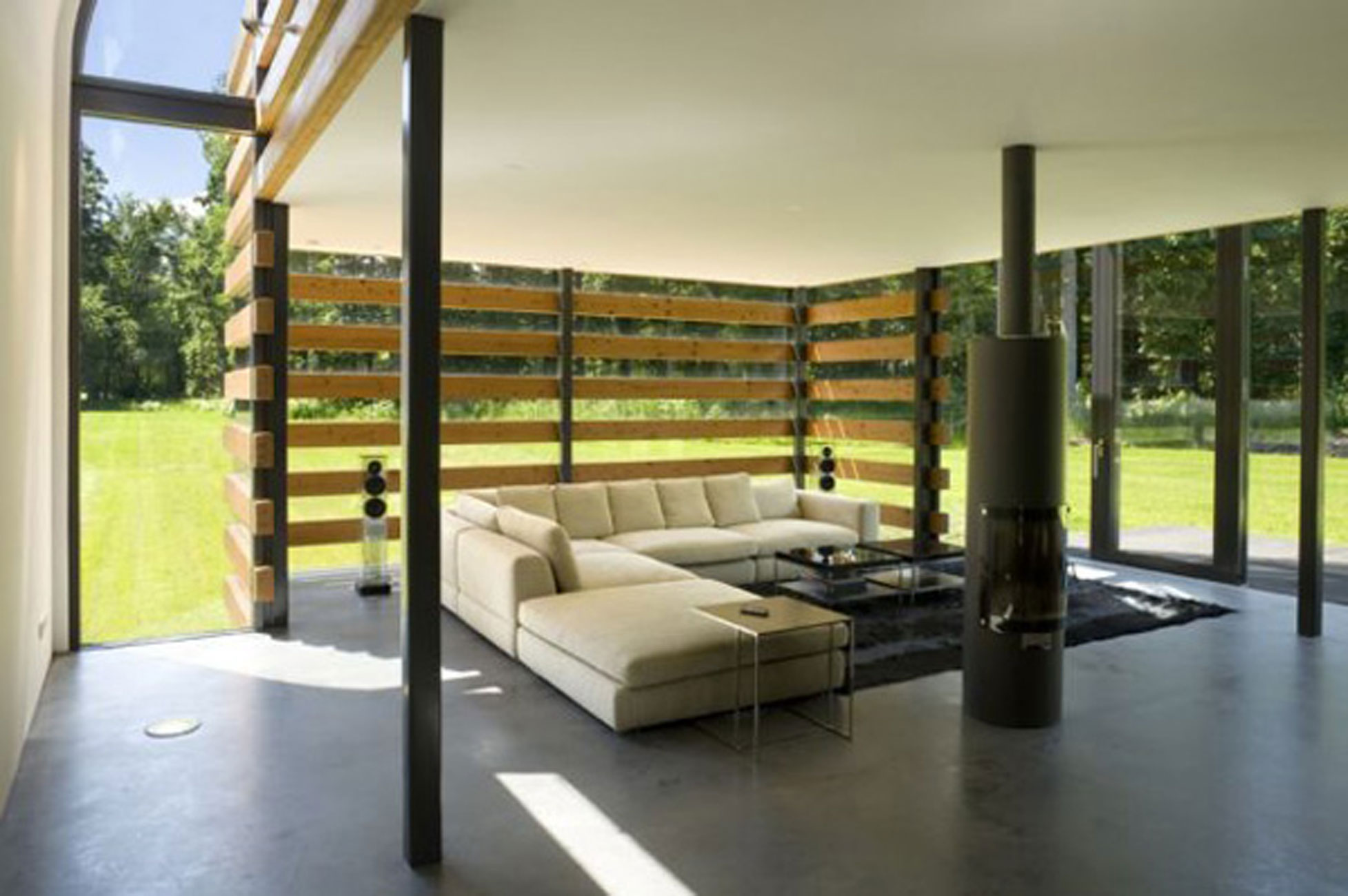 Redesigned Barn House into Modern House Design with Metal Roof - Living room | Viahouse.Com