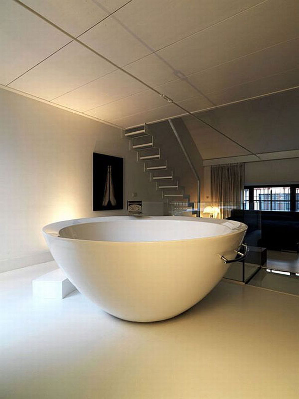 Renovated Industrial Factory into Minimalist Home Design with Spa and Gym - Big Bathtub