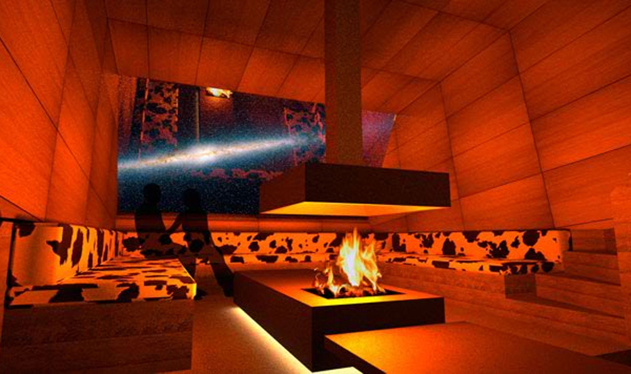 Retro Futuristic Retreat House Design in Sweden - Fireplace