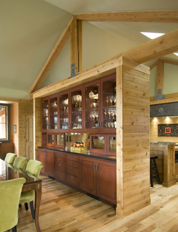 Rock-Wood Combination in a Contemporary House Design by Litmus - Mini Bar