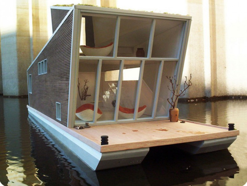 Schwimmhaus, German Floating House With Prefabrication Style   Facade