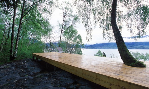 Small Lake House Architecture from Wooden Materials - Wooden Terrace