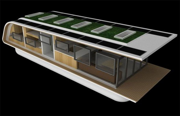 SolarHome, Modern Mobile Floating House Concept from Kingsley Architecture - Back