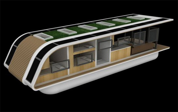 SolarHome, Modern Mobile Floating House Concept from Kingsley Architecture - Front