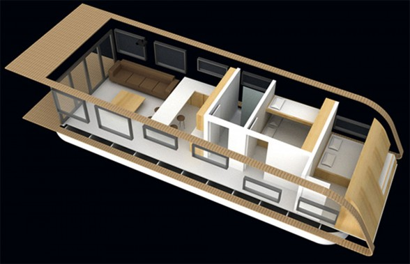 SolarHome, Modern Mobile Floating House Concept from Kingsley Architecture - Top