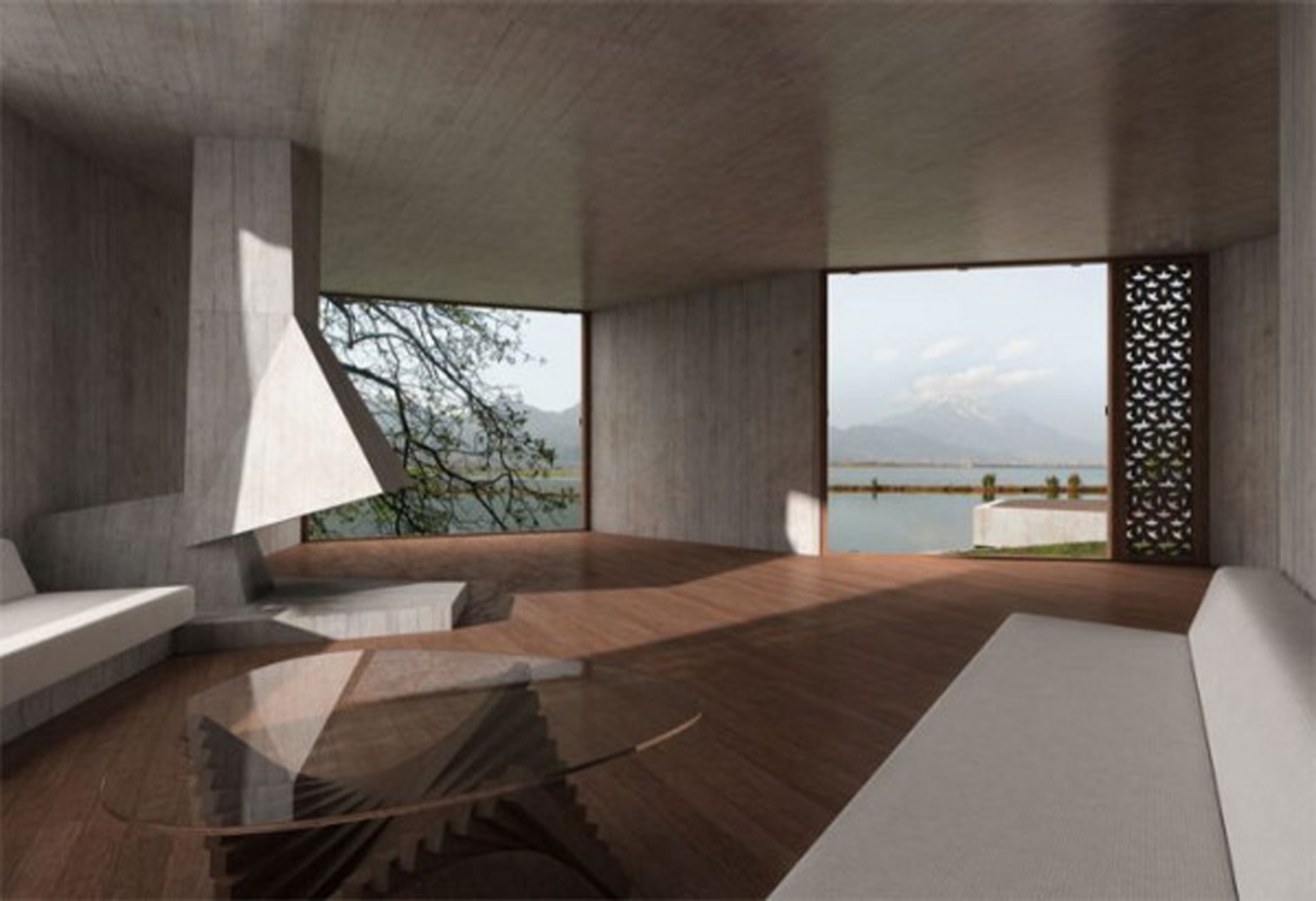 Treehouse geometric guest house design in china for Guest house interior design photos