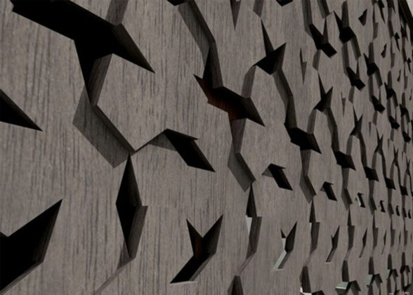 Treehouse, Geometric Guest House Design in China - Wall Details