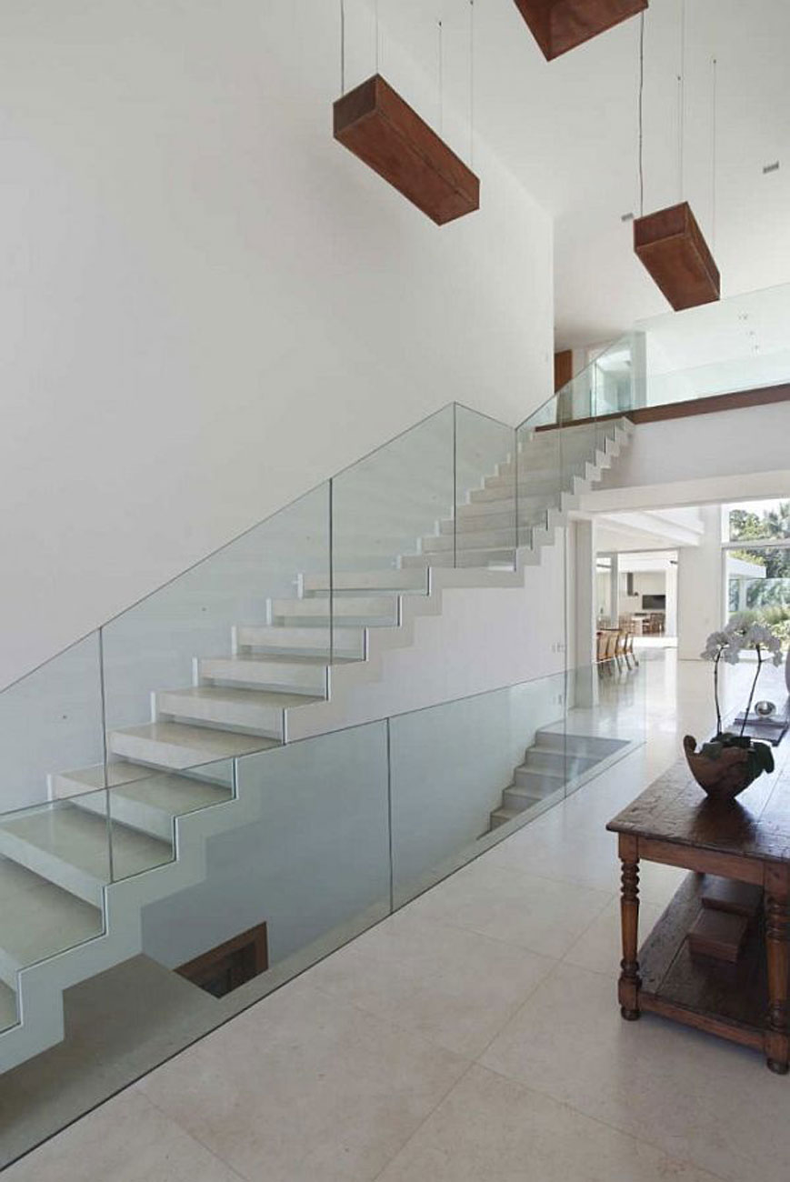 Two Blocks Villa with Luxury Style in Brazil - Glass Staircase