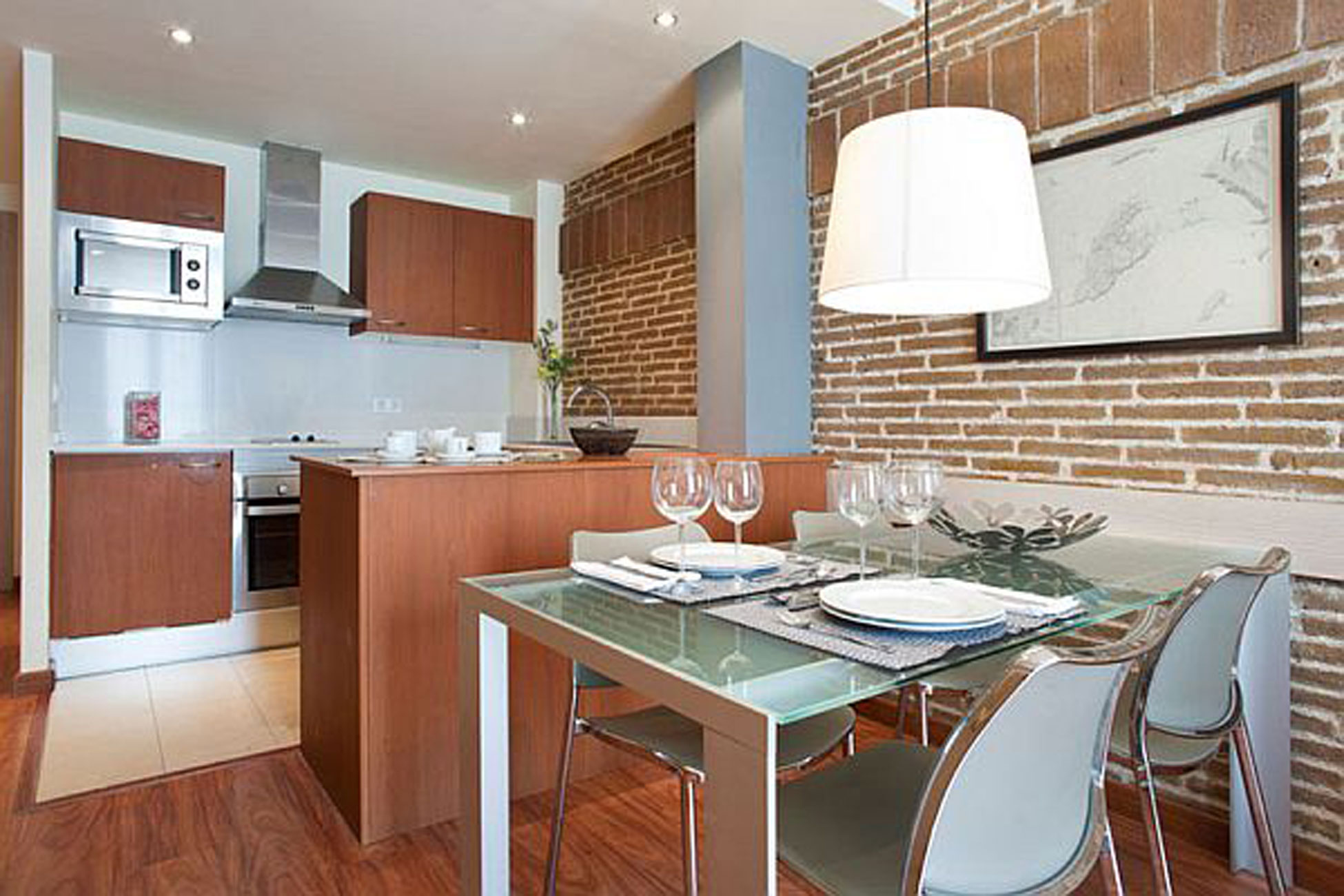 Warmth and Comfy Apartment Ideas In 55 Square Meter of Barcelona - Kitchen