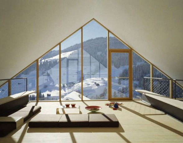 Wooden Mountain House in Swiss Alps from Drexler Guinand Jauslin - Balcony