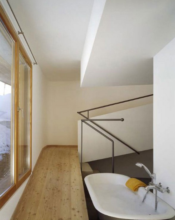 Wooden Mountain House in Swiss Alps from Drexler Guinand Jauslin - Bathroom
