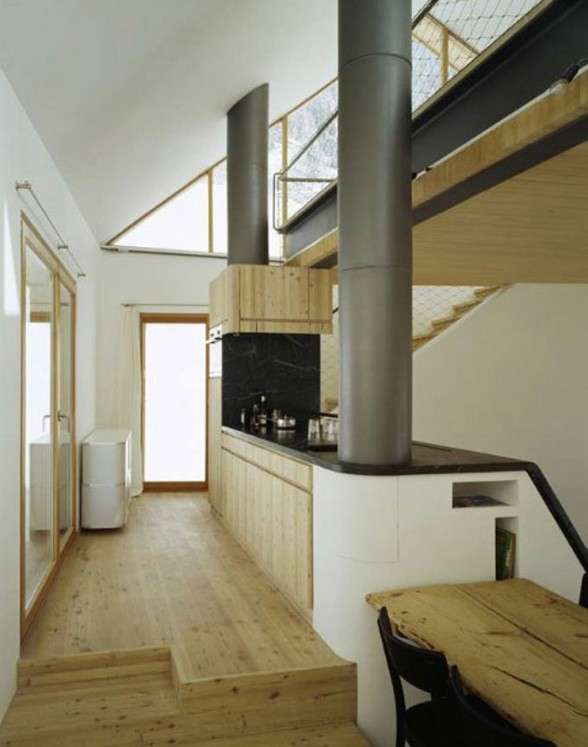 Wooden Mountain House in Swiss Alps from Drexler Guinand Jauslin - Kitchen
