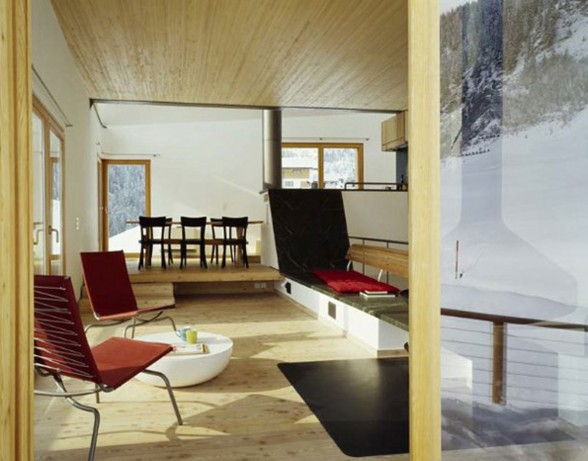 Wooden Mountain House in Swiss Alps from Drexler Guinand Jauslin - Living room