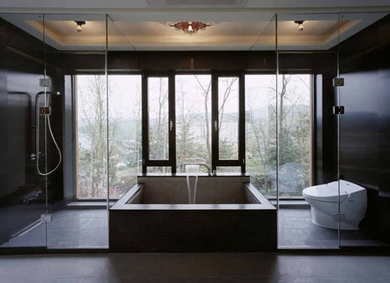Z House, Stunning Architecture Of A Modern House By Korean Architect   Concrete Bathtub