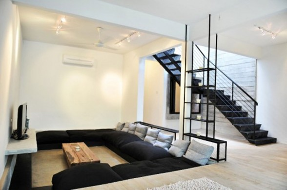 A Minimalist House Design with Indoor Garden in Kuala Lumpur - Living Room