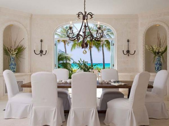 Classic Lucsious Barbadian Residence Interior Ideas in British Wes Indies - Formal Dining Table