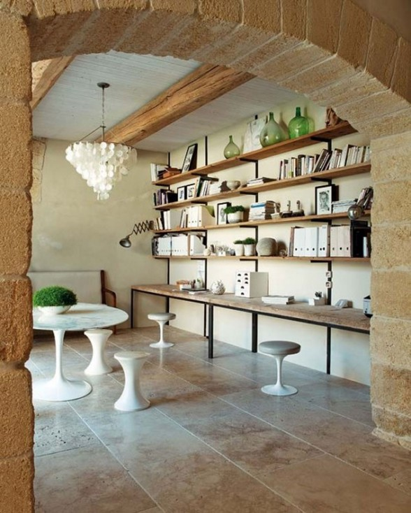 Modern Home Design in France, Redesigning from an Old Oil Mill Factory - Book Rack