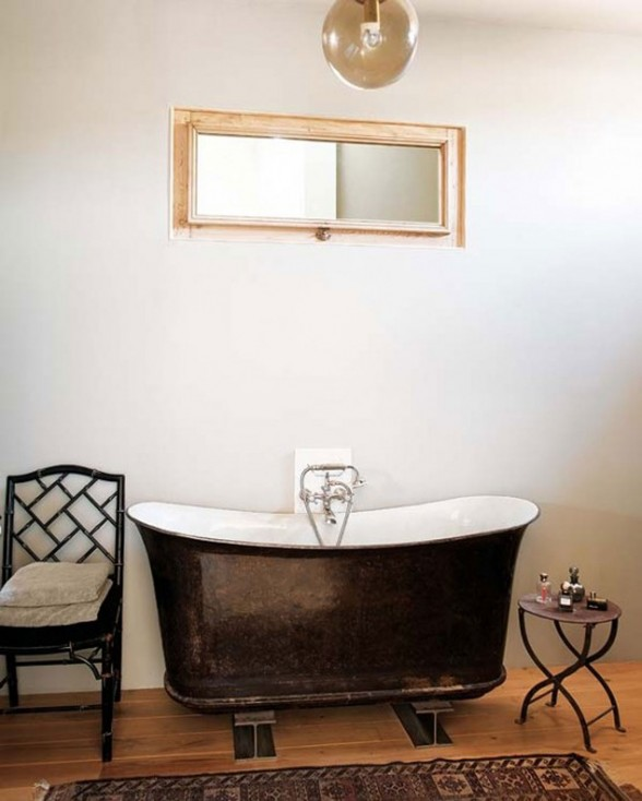 Modern Home Design in France, Redesigning from an Old Oil Mill Factory - Classic Bathtub