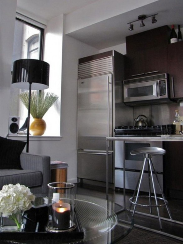 A Bachelor Loft in Small Apartment Area and Efficient Placement of Interior - Compact Kitchen