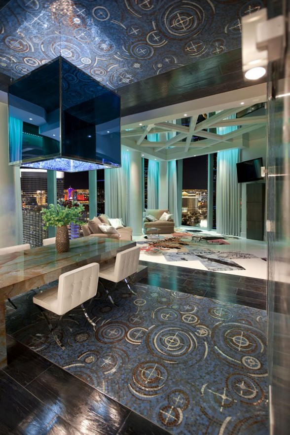 Amazing Apartment Ideas in Las Vegas Designed by Mark Tracy - Italian Marmer Tile