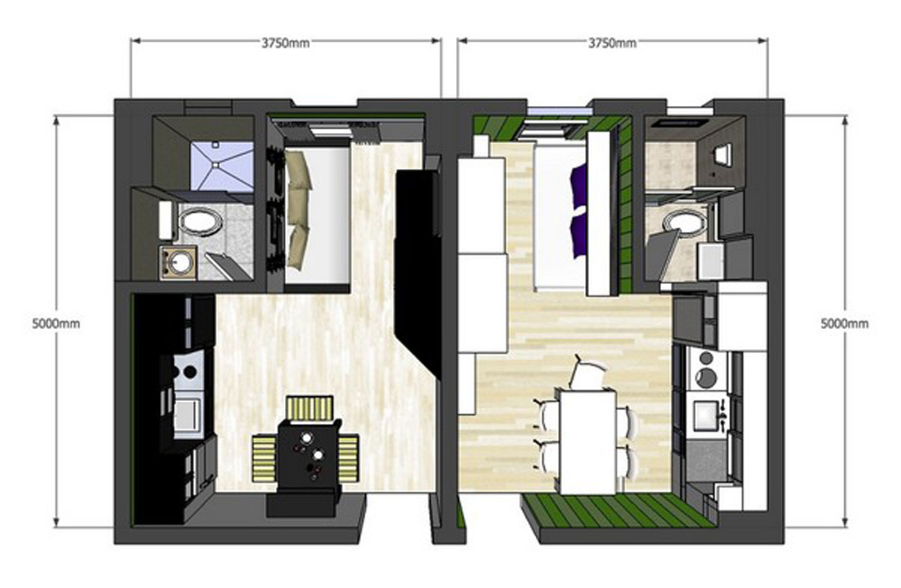 An Astrid Sangil Project in a 20sqm Apartment Area with Twins Design - Plan