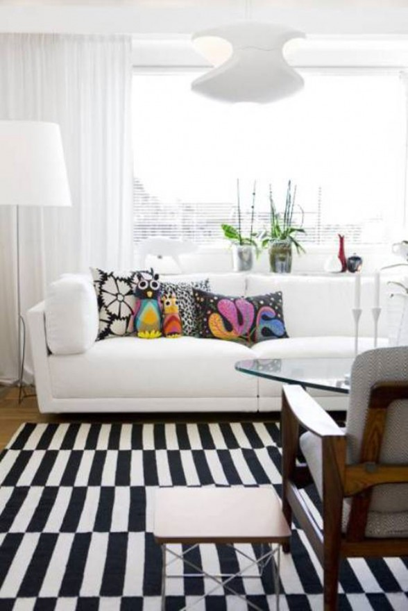 Bright White Interior Ideas from a 50s Scandinavian House - Livingroom